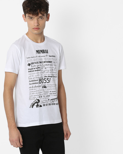 Typographic Print Crew-Neck T-shirt By Souled Store ( White )