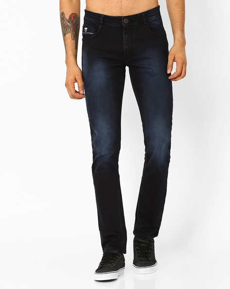 Lightly Washed Slim Fit Jeans By JOHN PLAYERS ( Black )