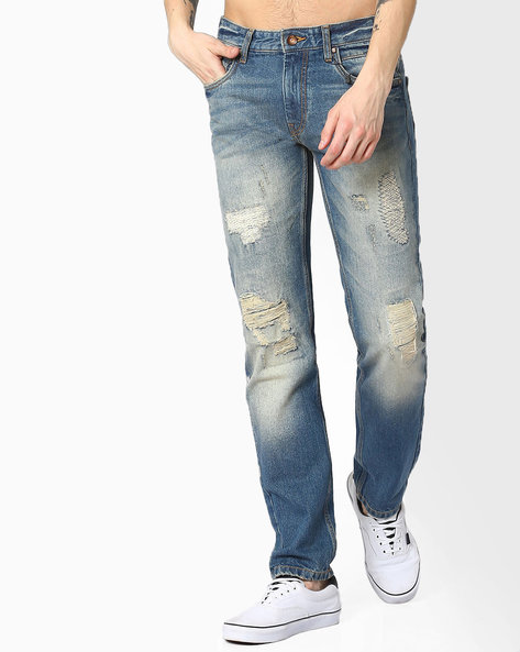 Lightly Washed Slim Tapered Jeans By AJIO ( Dkblue )