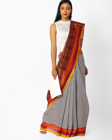 All-Over Print Saree With Contrast Border By Majestic Silk ( Green )