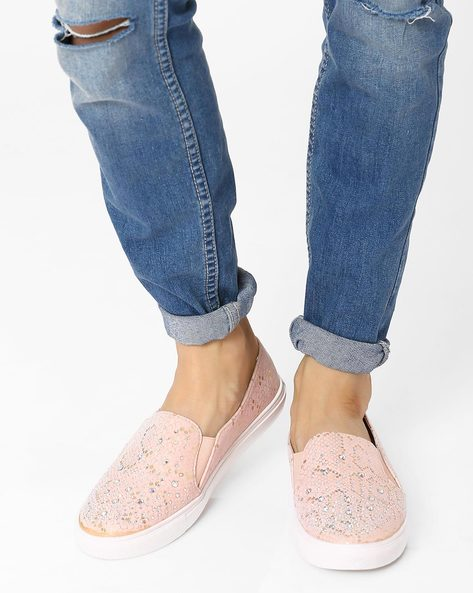 Embellished Casual Slip-Ons By AJIO ( Pink )