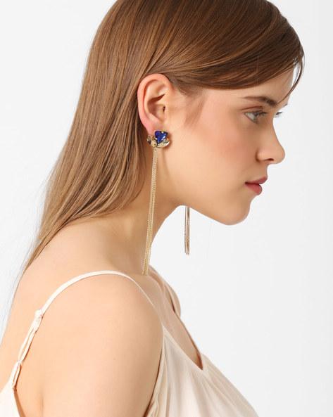 Rhinestone Tassel Drop-Earrings By Ssoul ( Gold )