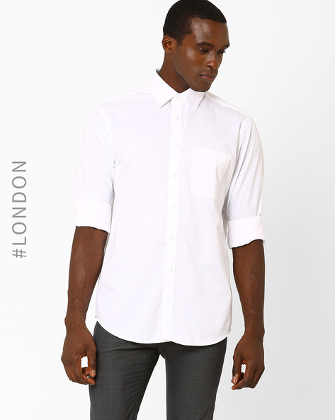 Regular Fit Cotton Rich Shirt By Marks & Spencer ( White )