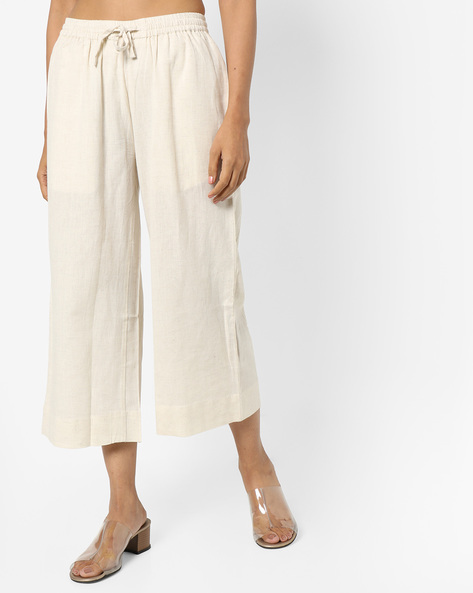 Culottes With Drawstring Waist By Project Eve IW Casual ( Natural )