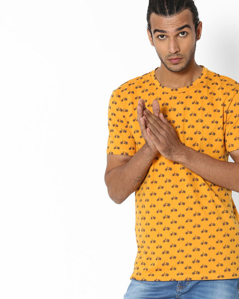 All-Over Print Crew-Neck T-Shirt By UNITED COLORS OF BENETTON ( Yellow )