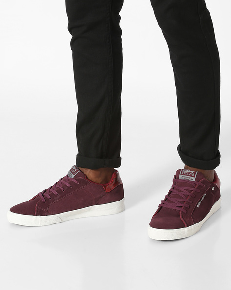 Suede Lace-Up Casual Shoes By British Knights ( Burgundy )