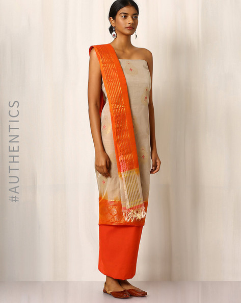 Handwoven Cotton Dress Material Set By Indie Picks ( Offwhite )