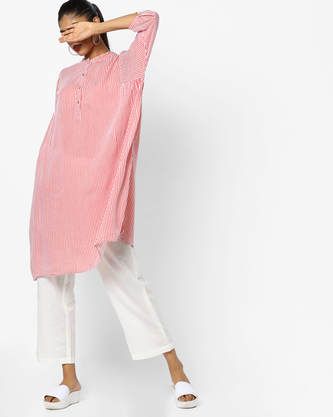 Striped Mandarin Kurta By AJIO ( Coral )