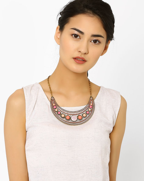 Crescent-Shaped Statement Necklace By AJIO ( Pink )