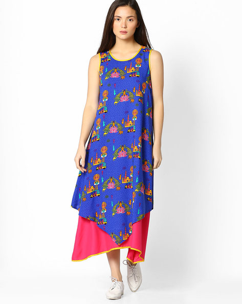 Layered Sleeveless Maxi Dress By Akkriti By Pantaloons ( Blue )