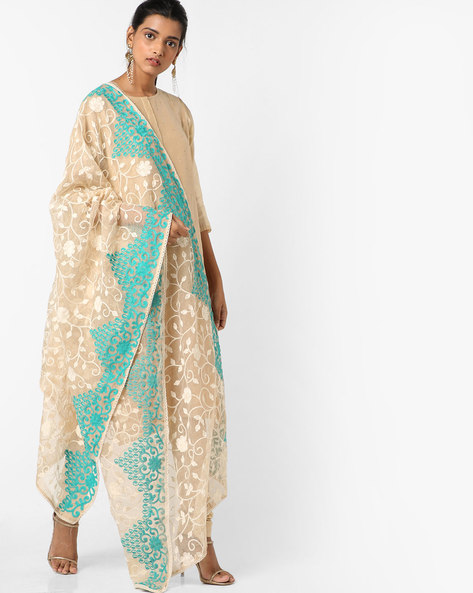 Embroidered Dupatta With Scalloped Borders By Dupatta Bazaar ( Cream )