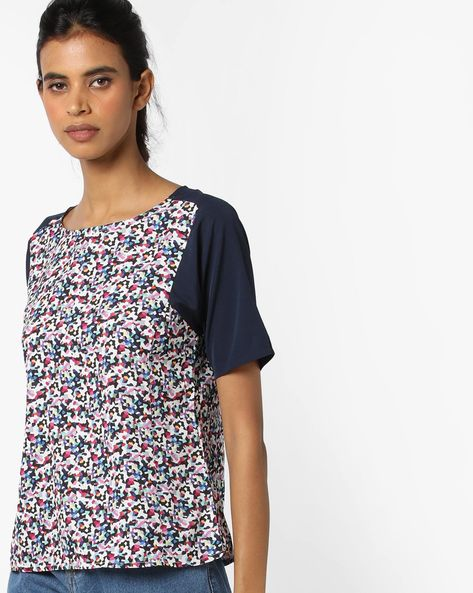 Printed Top With Contrast Sleeves By UNITED COLORS OF BENETTON ( Blue )