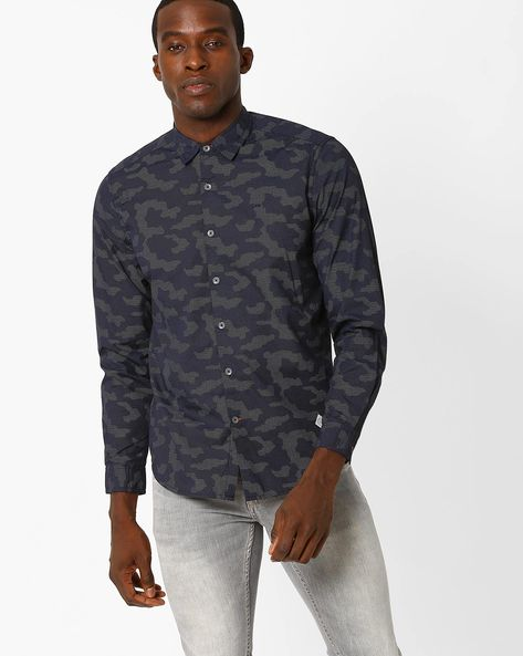 Printed Slim Fit Shirt By Lee ( Navy )