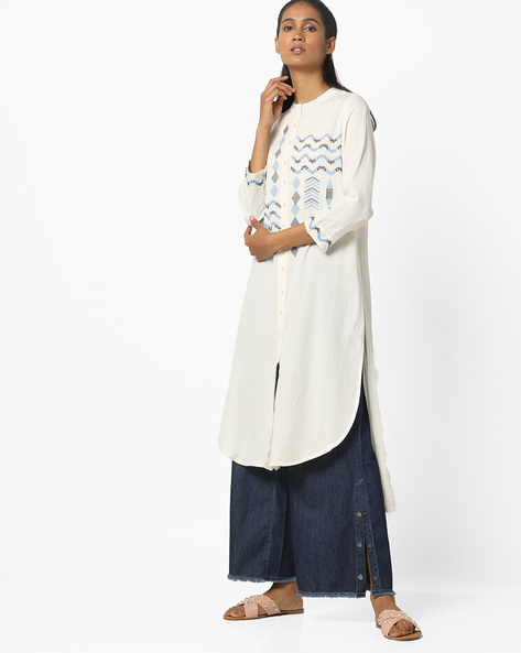 High-Low Kurta With Embroidery By Global Desi ( White )