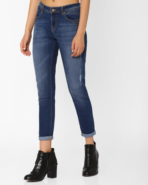 Lightly Washed Slim Fit Jeans with Studs