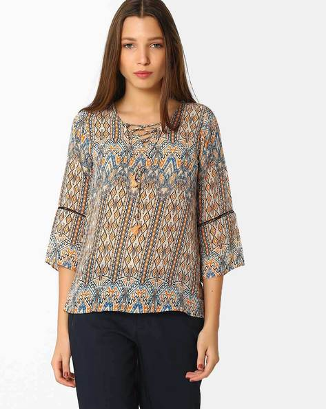 Printed Top With Lace-Up Neck By And ( Multi )