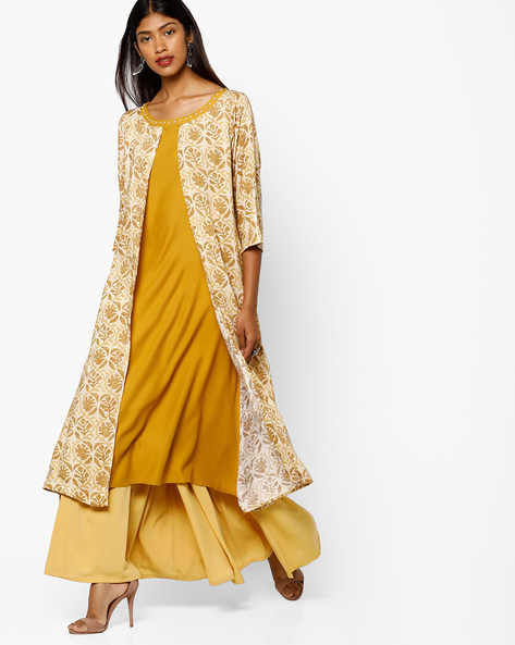 Floral Print Layered Kurta By Shree ( Mustard )