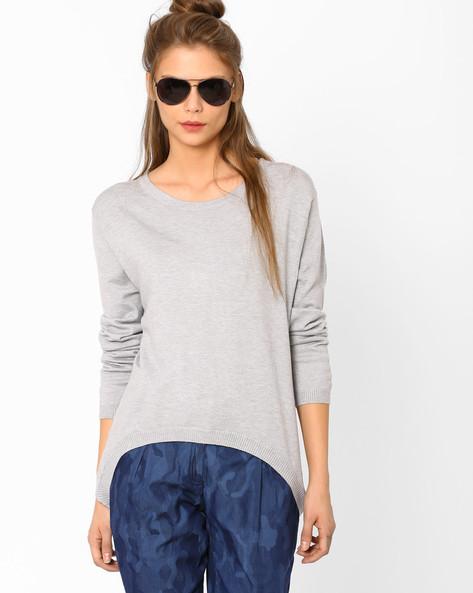 Flat-Knit High-Low Sweater By AJIO ( Greymelange )