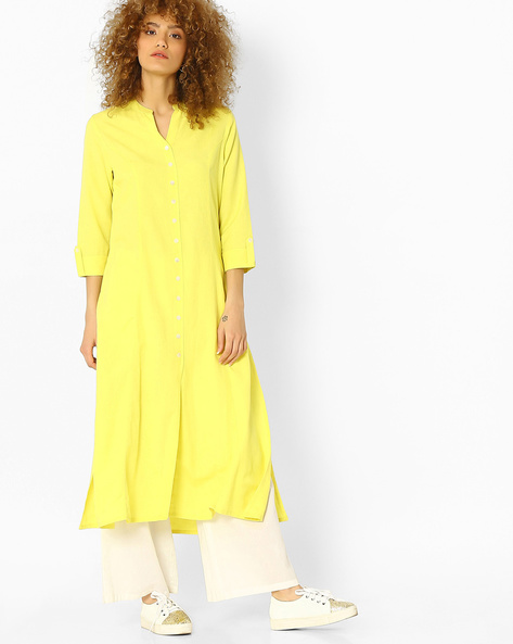 Kurta With Roll-Tab Sleeves By Melange By Lifestyle ( Lime )