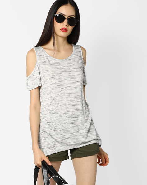 Heathered Top With Cold-Shoulder Sleeves By BOSSINI ( Grey )