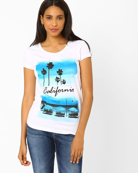 Printed T-shirt By Ajile By Pantaloons ( White )