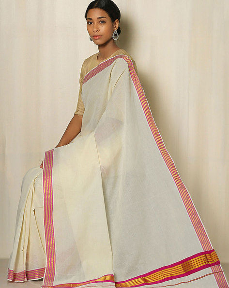 Kerala Kasavu Cotton Saree By Indie Picks ( Offwhite ) - 460041795001