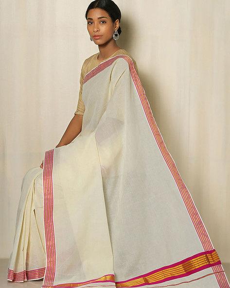 Kerala Kasavu Cotton Saree By Indie Picks ( Offwhite ) - 460041795001