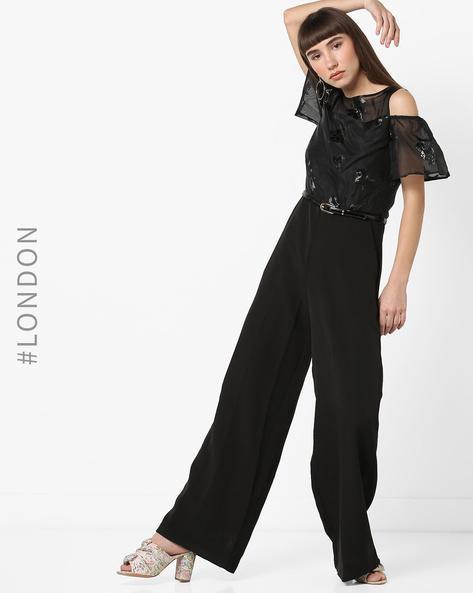 Cold-Shoulder Jumpsuit With Belt By Closet London ( Black )