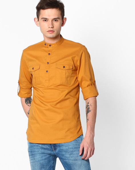 Slim Fit Cotton Shirt By The Indian Garage Co ( Mustardyellow )