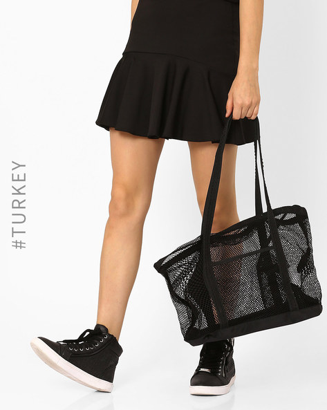 Mesh Shoulder Bag By TIFFANY & TOMATO ( Black )