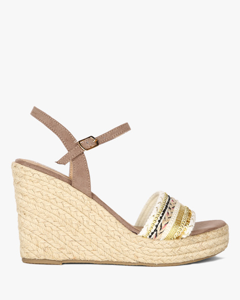Ankle-Strap Wedges With Braided Midsole By Dummy ( Beige )