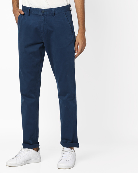 Overdyed Slim Fit Flat-Front Trousers By AJIO ( Navy )