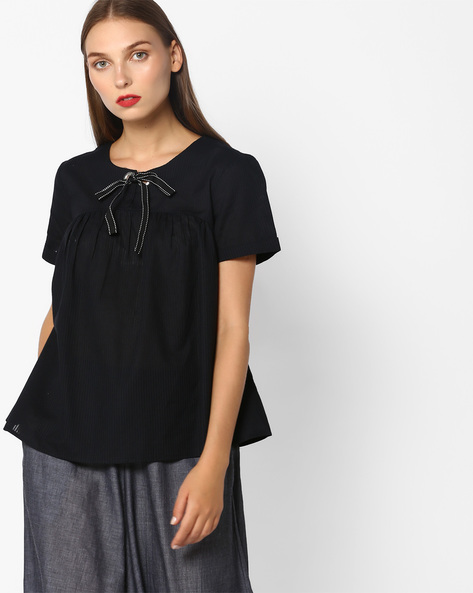 Striped Top With Bow By Vero Moda ( Black )