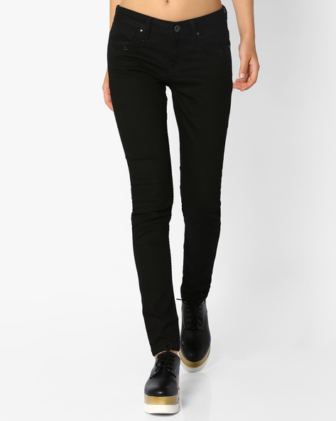 5-Pocket Jeans With Embellishments By AJIO ( Black )
