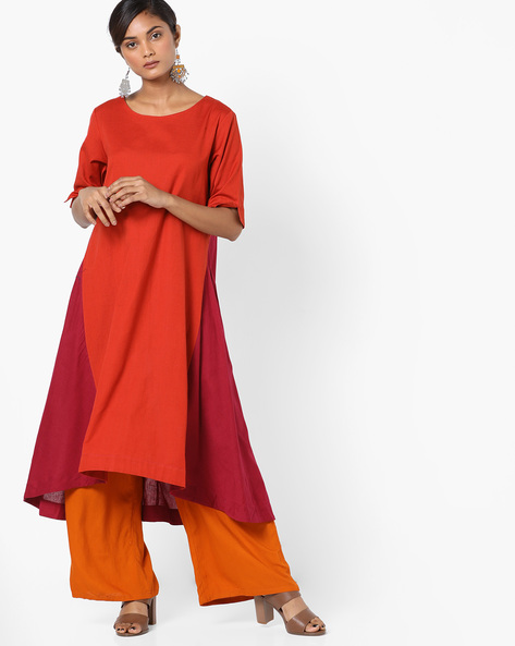 Colourblock Panelled Kurta With Asymmetrical Hem By Project Eve IW Casual ( Orange )