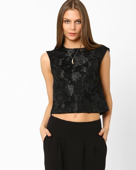 Jacquard Crop Top By AJIO ( Black )