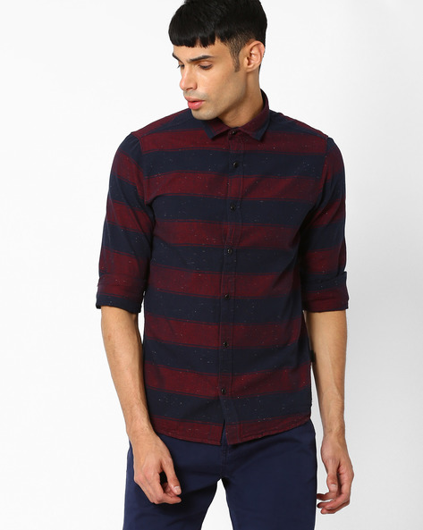 Striped Slim Fit Casual Shirt By Pepe Jeans ( Burgundy )