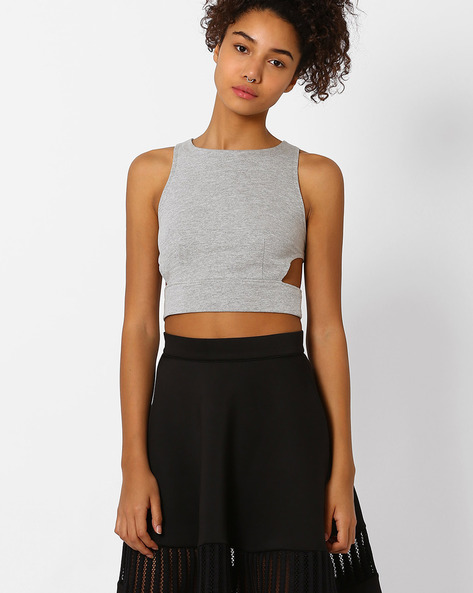 Crop Top With Side Cutouts By Vero Moda ( Grey )