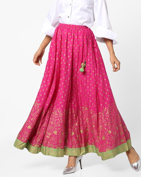 Printed Mid-Rise Maxi Skirt By Biba ( Pink )