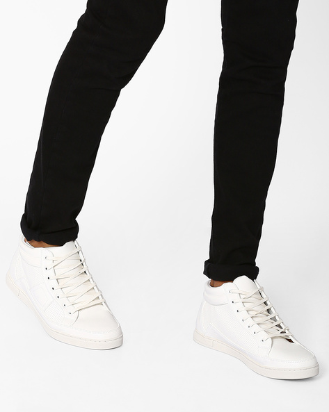 Mid-Top Perforated Sneakers By AJIO ( White )