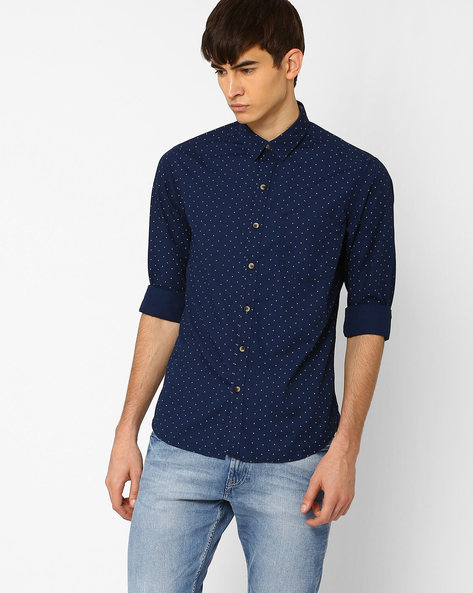 Printed Slim Fit Shirt By JOHN PLAYERS ( Blue ) - 440735689001