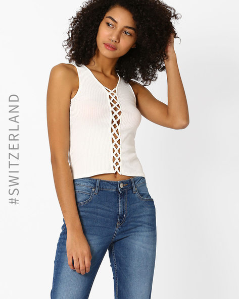 Ribbed Crop Top With Cutouts By TALLY WEiJL ( Offwhite )