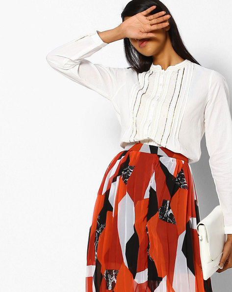 Shirt Top With High-Low Hem By DNMX ( Offwhite )