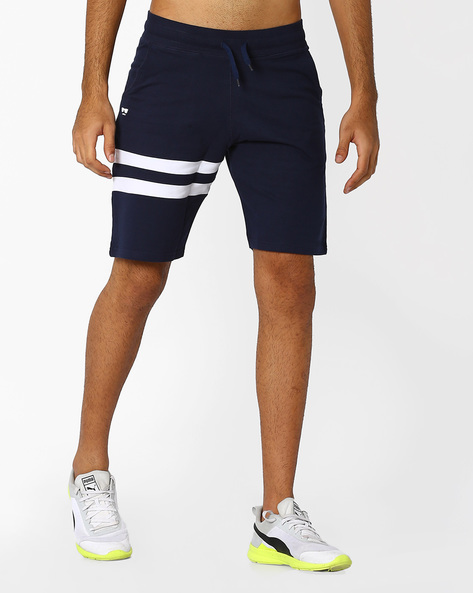 Cotton Shorts With Cut & Sew Panels By Garcon ( Navyblue )