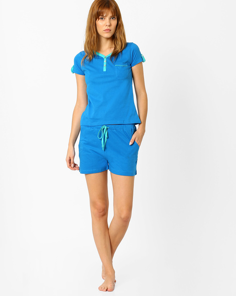 Henley Neck Cotton Lounge Set By Slumber Jill ( Blue )