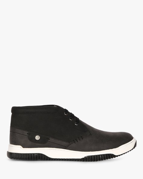 High-Top Suede Lace-Up Sneakers By DUKE ( Black )