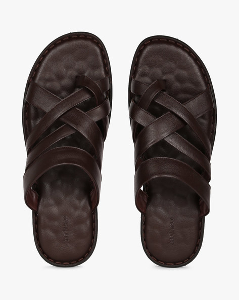 Genuine Leather Toe-Ring Sandals By SAN FRISSCO ( Brown )