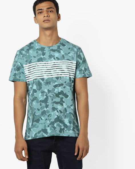 Camouflage Print Slim Fit T-shirt By AJIO ( Blue )