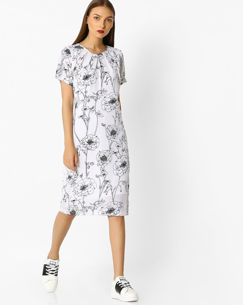 Floral Print Sheath Dress By FIG ( Offwhite )