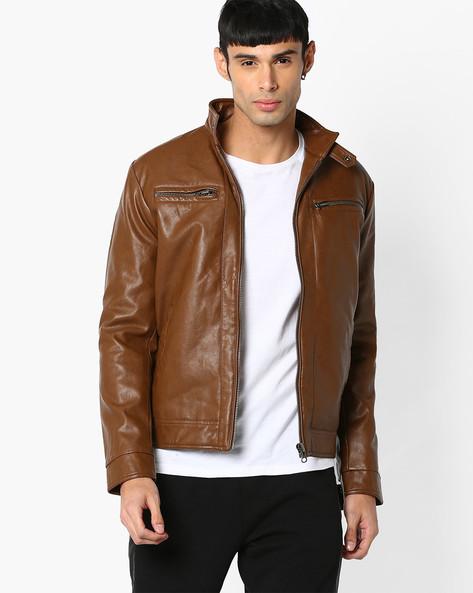 Slim Fit Leatherette Jacket By SPYKAR ( Tan )